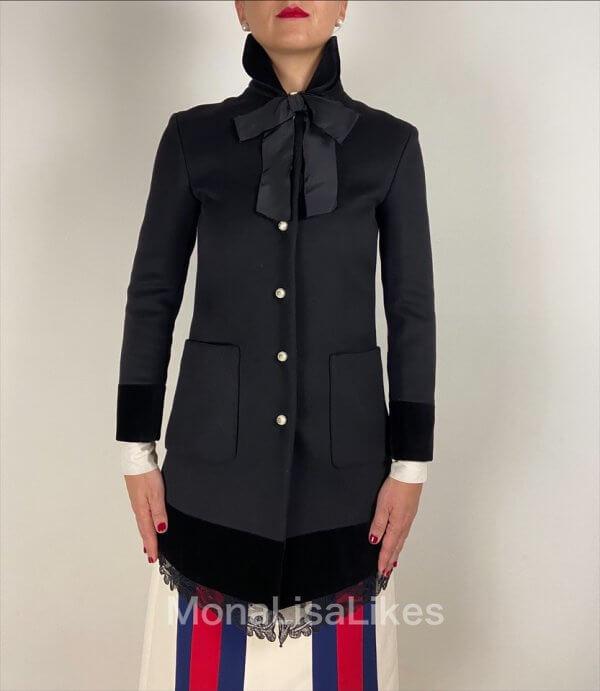 GUCCI Black Wool Velvet Trim Lace Coat