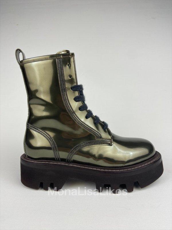 Brunello Cucinelli Patent Leather Green Metallic Combat Boots