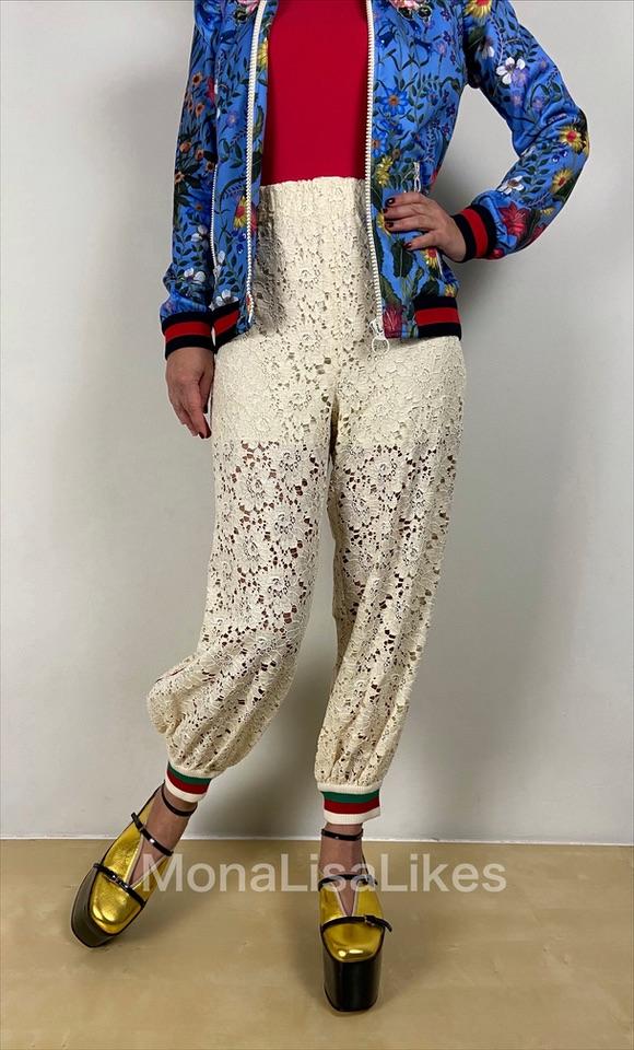 Gucci white lace track jogging pants