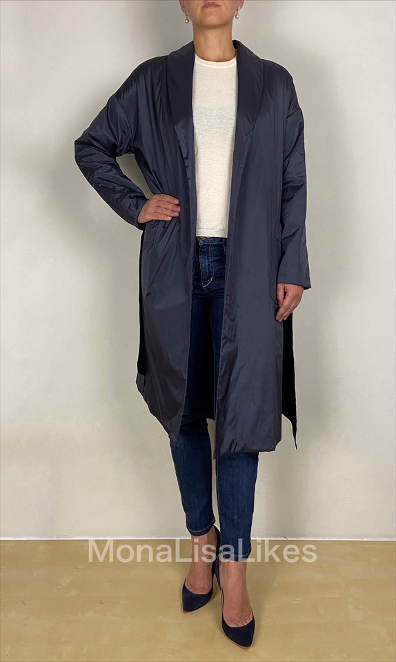 Loro Piana Blue Silk Dutch Princess Trench Coat