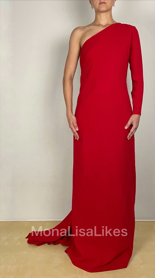 Carolina Herrera Long Red Fishtail Gown Dress