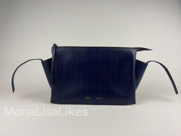Celine Trifold blue and black striped bag