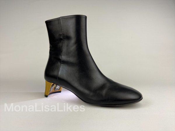Gucci Arielle Gold Crystal Heel Black Leather Boots