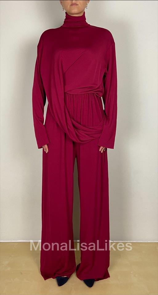 Balenciaga Red Draped Jumpsuit Dress