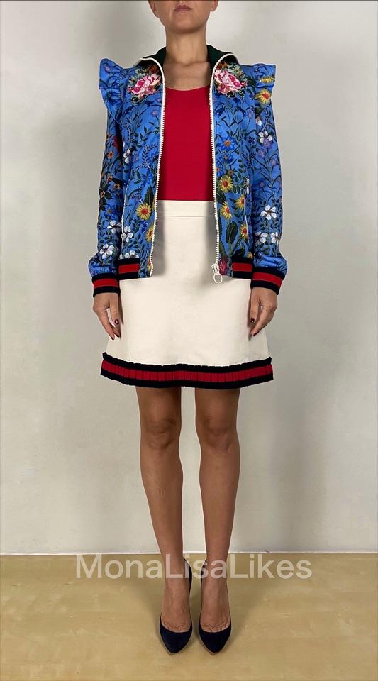 Gucci white web trim skirt