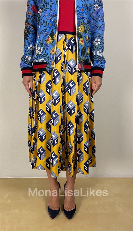 Gucci yellow pleated wallpaper skirt