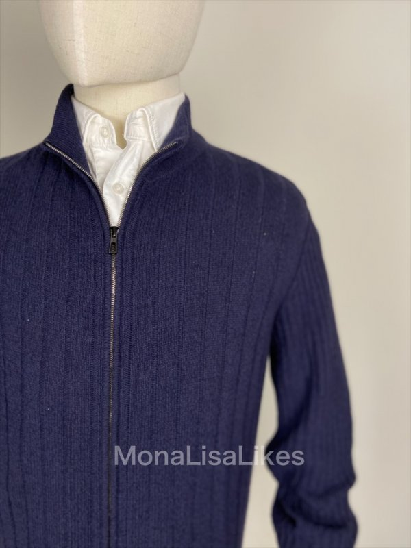Loro Piana 100% VICUNA Ribbed Knit Zip Up Bomber Sweater Cardigan FAF 9631