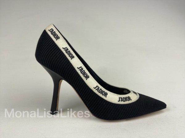 Christian Dior J'adior Black Technical Fabric Canvas Shoes