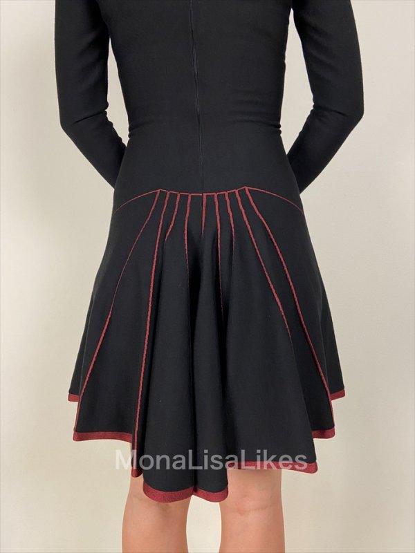 Alaia Black Fishtail Open Back Flare Wool Blend Dress