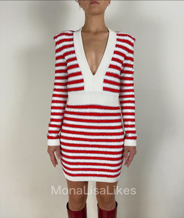 Balmain striped red dress