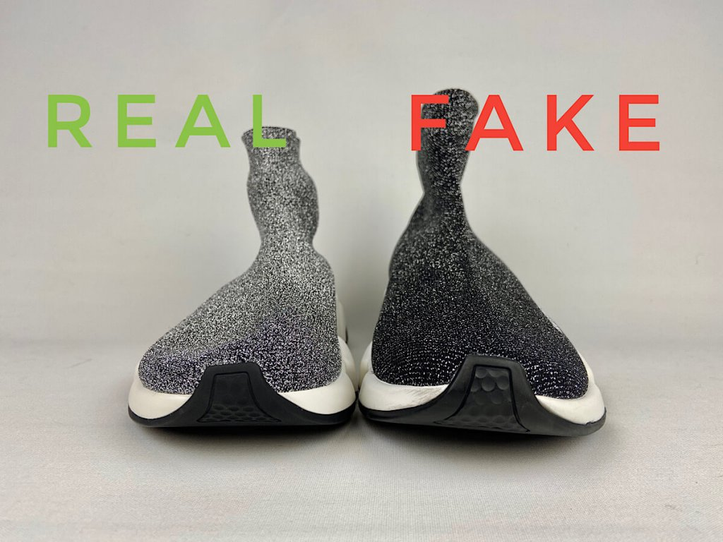 Spot Fake vs Real Balenciaga Speed Trainer Sneakers. Front View