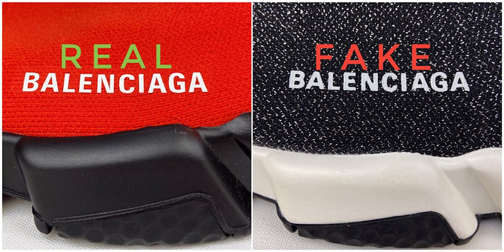 Balenciaga logo on red and glitter Speed Trainer sneakers