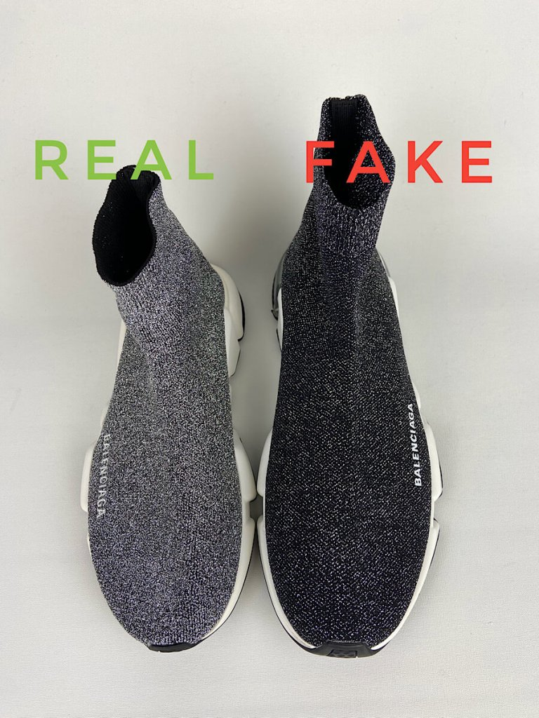 Spot Fake vs Real Balenciaga Speed Glitter Trainer Sneakers. Top view