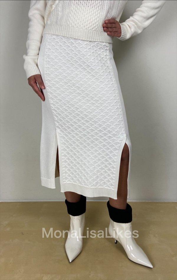 Loro Piana White Diamond Knit Gonna Real Skirt On SALE