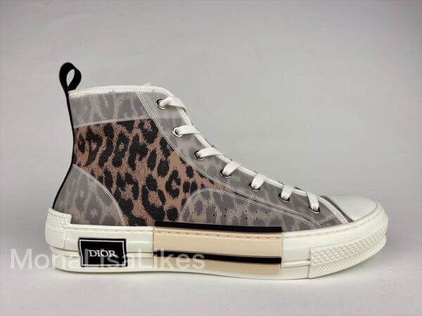 Real Christian Dior B23 Sneakers Shoes in Leopard Canvas For Sale