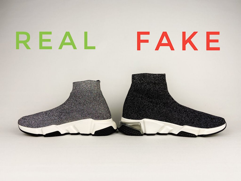 Spot Fake vs Real Balenciaga Speed Trainer Sneakers. Side View